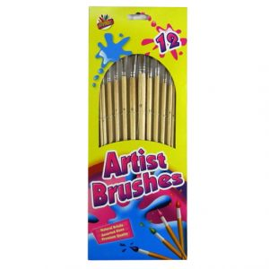 Artists Wooden Natural Bristle Brushes