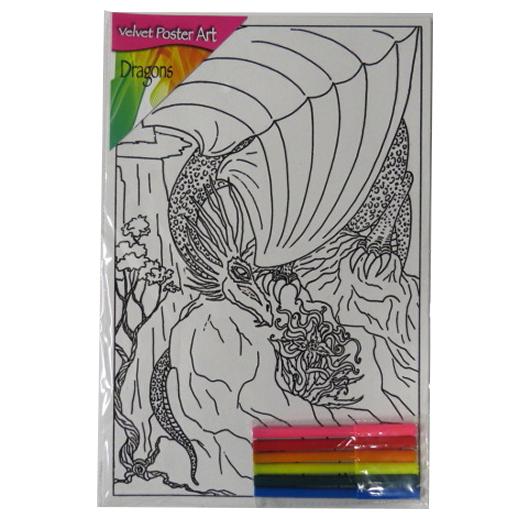 Children's Large Velvet Poster Art - Mountain Dragon