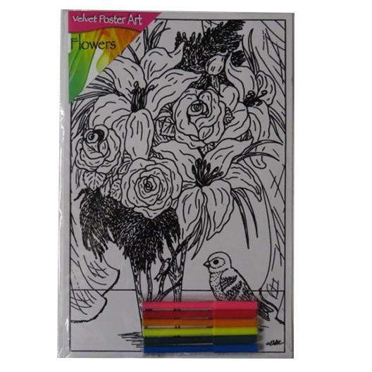 Children's Large Velvet Poster Art - Flowers