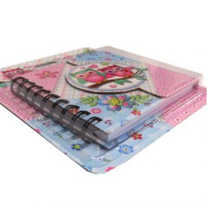 Owls Diary with Magnetic Closing Cover - 130mm x 130mm