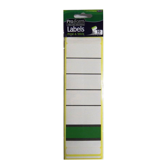 Pro Form White Self Adhesive Strip Shelving, Folder Labels