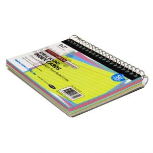 Spiralbound Index Cards, Size 5 x 3 Angle