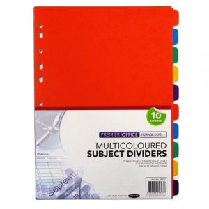A4 Multi Coloured Card Subject Dividers - Pack of 10