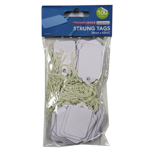 White Strung Tags - Pack of 100 - Size 28mm x 43mm