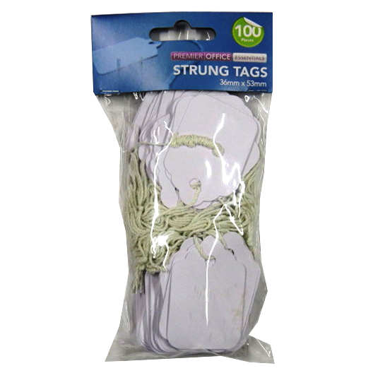 White Strung Tags Size 36mm x 53mm
