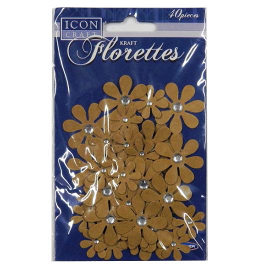 Decorative Kraft Florettes with Crystals