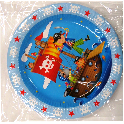 Pirate Party Printed Plates, Pack of 8