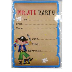 Pirate Party Invitations and Envelopes, Pack of 12
