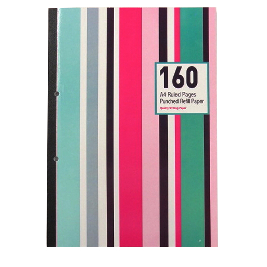 A4 Refill Notebook - Tape Bound - 160 Pages - Stripes Design