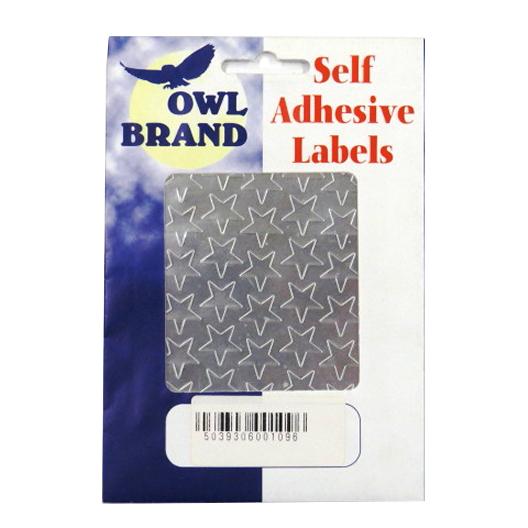 Metallic Silver Self Adhesive Stars