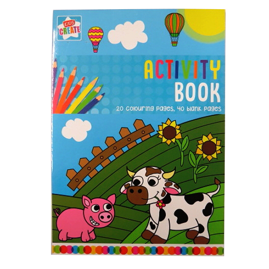 A4 Colouring Activity Book, Notepad - 20 Colour with 40 Blank Pages