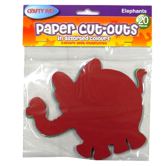 Children's Card Paper Shapes - Elephants