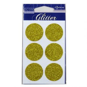 Icon Craft, Glitter Self Adhesives - Gold Circles