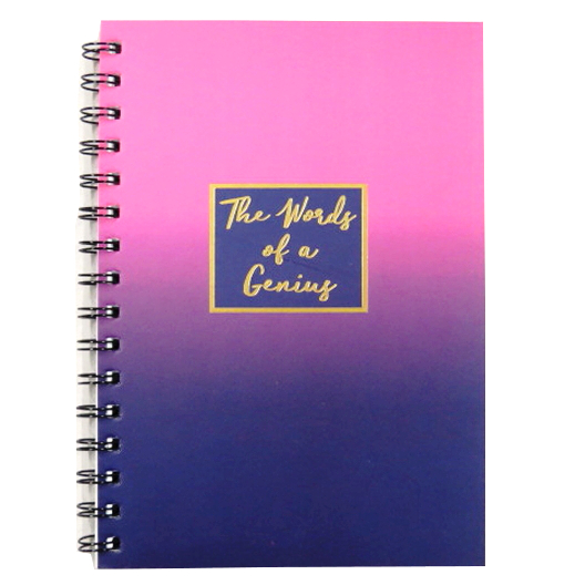 A5 Words of Genius Wirebound Notebook - Purple Shades