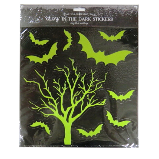 Trick Or Terror Glow In The Dark Large Halloween Stickers Creepy Tree Paper Things