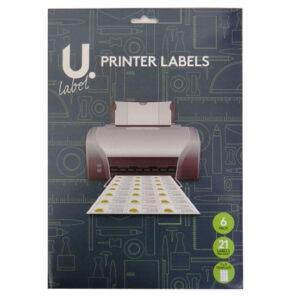 U Label, Printer Labels, 21 Labels per Sheet 63mm x 88mm