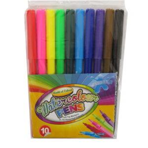 Watercolour Pens, Felt Tip Markers, 10 Mixed Colours