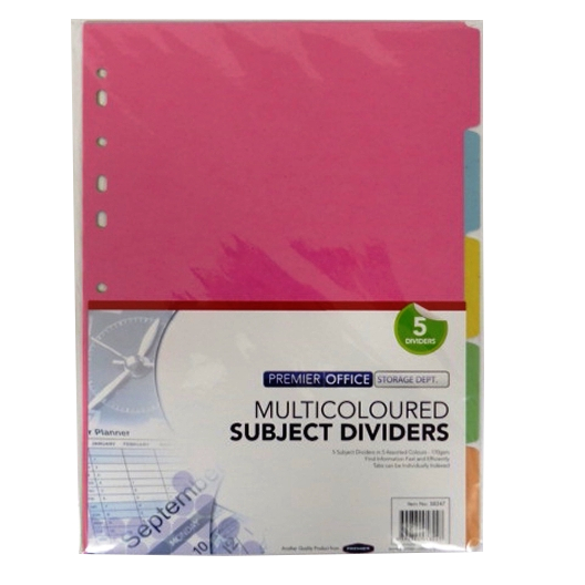 A4 Multi Coloured Card Subject Dividers