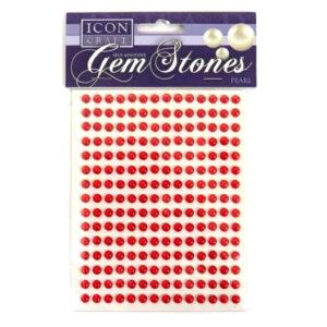 Pearl Gem Stones 6mm, Self Adhesive - Red