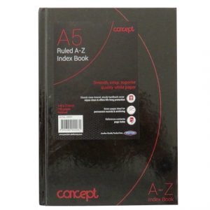 A5 Premier Concept A to Z Index Book, Black