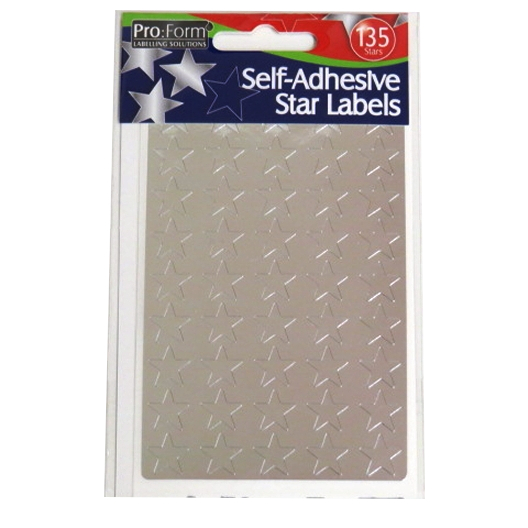 Metallic Silver Stars Labels