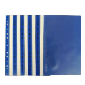 A4+ Plastic Punched Document Wallets Blue