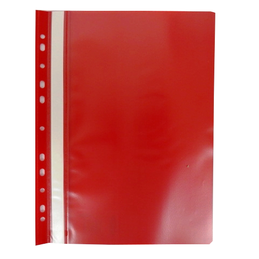 A4+ Plastic Punched Document Wallets Red Front