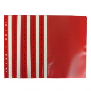 A4+ Plastic Punched Document Wallets Red