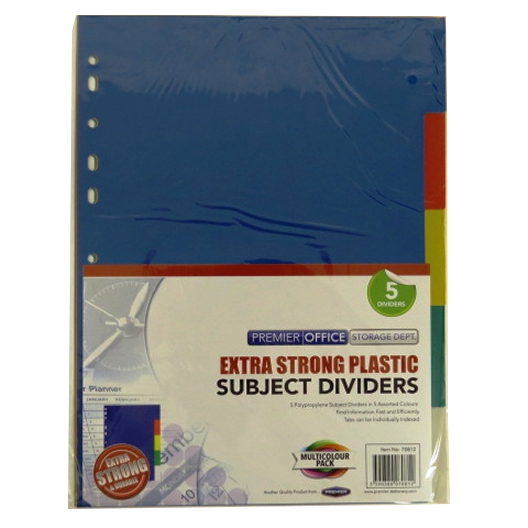 A4 Premier Multi Coloured Extra Strong Plastic Subject Dividers