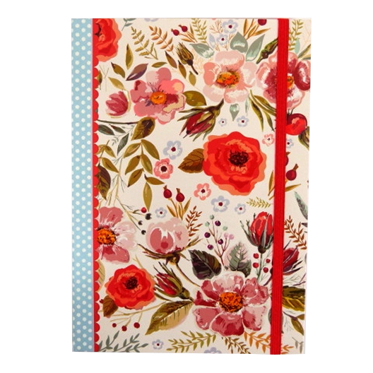 A5+ Decorative Journal Notebook, Elastic Closure - Vintage Blooms