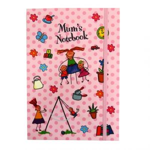 A5+ Decorative Journal Notebook, Elastic Closure - Mums Notebook