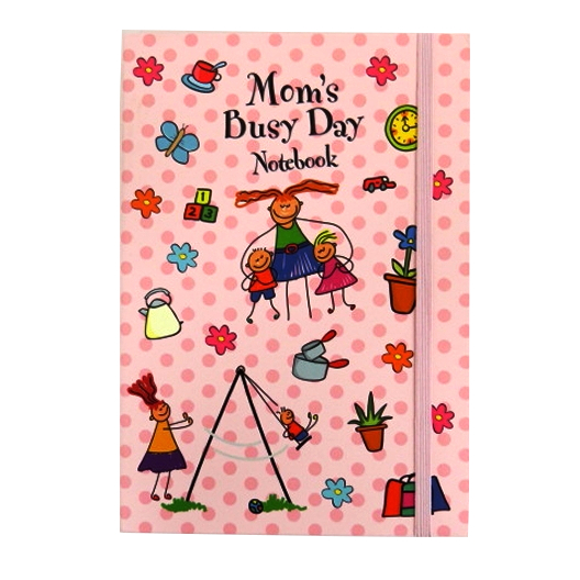 A5+ Decorative Journal Notebook, Elastic Closure - Mom's Busy Day