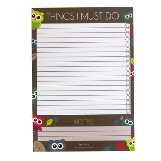 A5 Things I Must Do, Things to Do Ticklist Notepad - Cute Owls