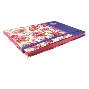A5+ Decorative Journal Notebook, Elastic Closure - Victoriana Sweet Posy