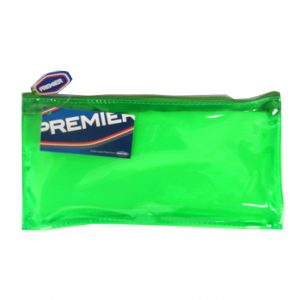 Premier PVC Flat Transparent Coloured Pencil Case, Green