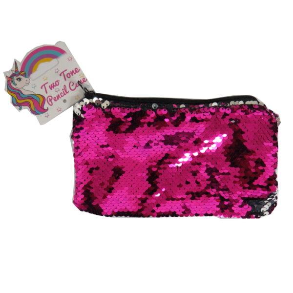 Unicorn Two Tone Pencil Case - Dark Pink