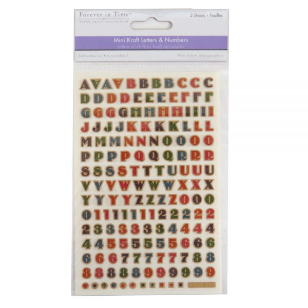 Decorative Mini Kraft Adhesive Capital Letters and Numbers, Retro Medley F