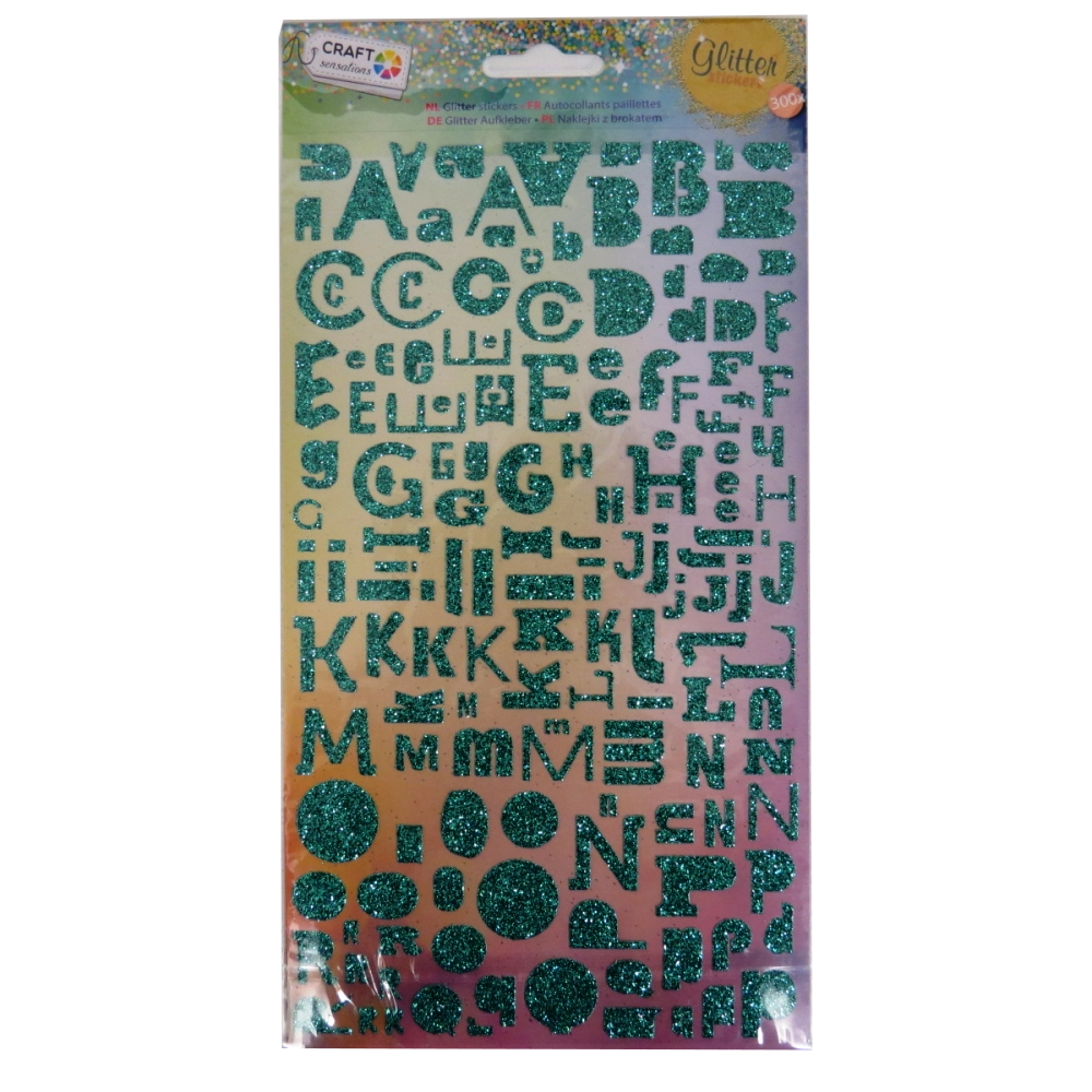 Craft Sensations Alphabet Glitter Stickers - Green