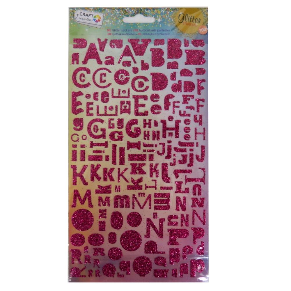 Craft Sensations Alphabet Glitter Stickers - Dark Pink