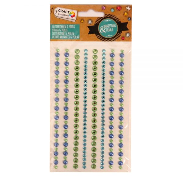 Adhesive Rhinestones & Pearl Strips - Pastel Green and Turquoise