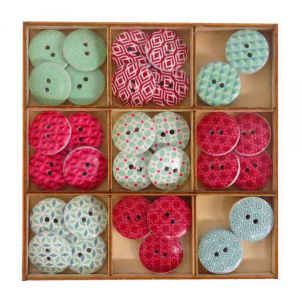 Wooden Decorative Buttons, Reds and Greens