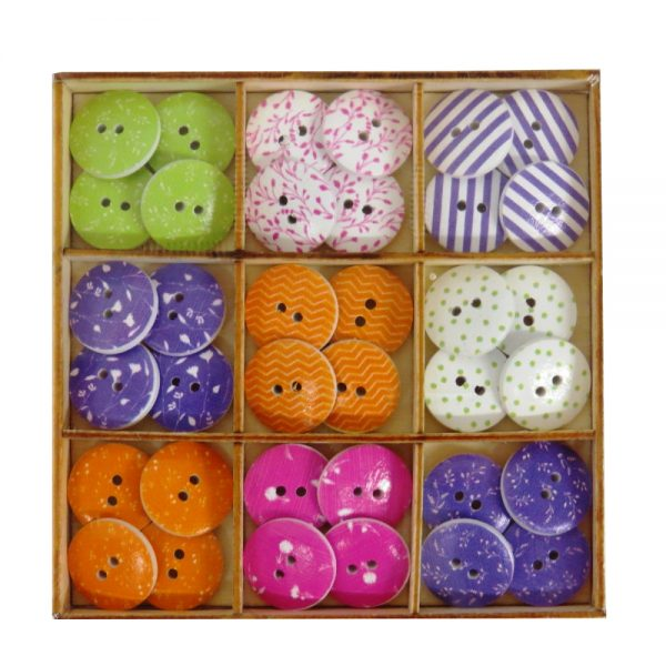 Wooden Decorative Buttons, Flowers and Shapes