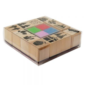 Wooden Decorative Stamp Set with Colour Ink Pad, Party Images