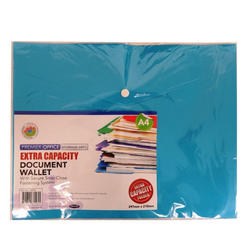 A4+ Extra Capacity Document Button Wallets - Pack of 12