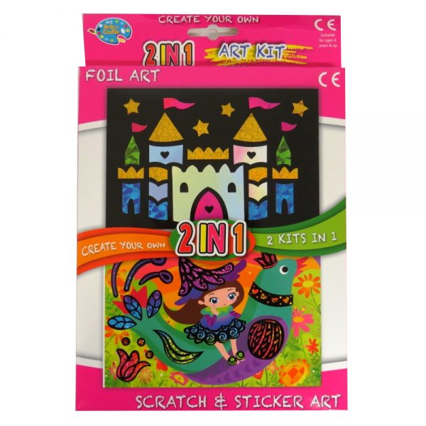 Childrens 2 in 1 Art Pack, Foil and Scratch & Sticker Art - Castle and Bird
