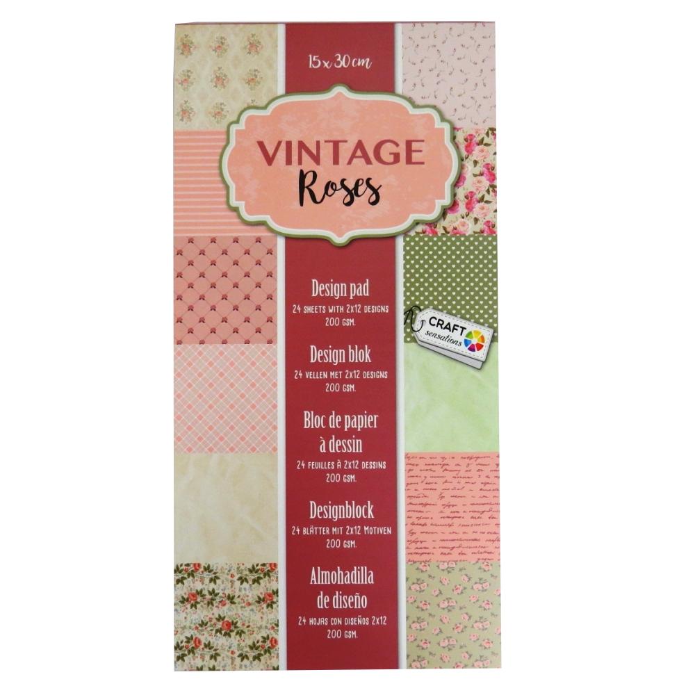 Card Printed Design Pad Vintage Roses