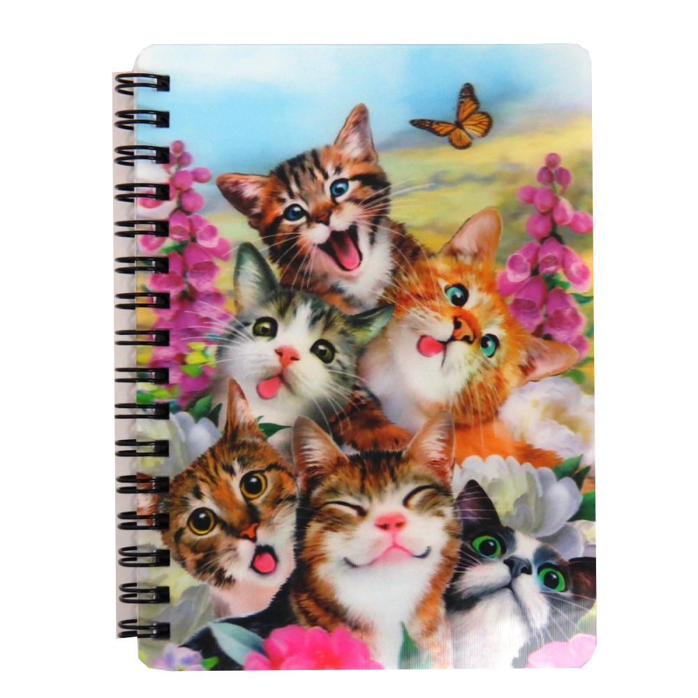 Super 3D Moving Cover A6 Wirebound Notebook, Cat Selfie