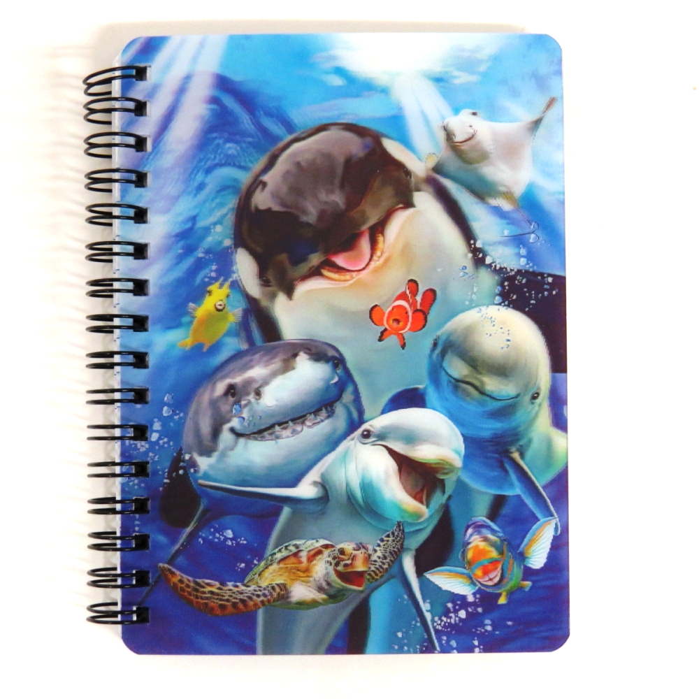 Super 3D Moving Cover A6 Wirebound Notebook, Ocean Selfie