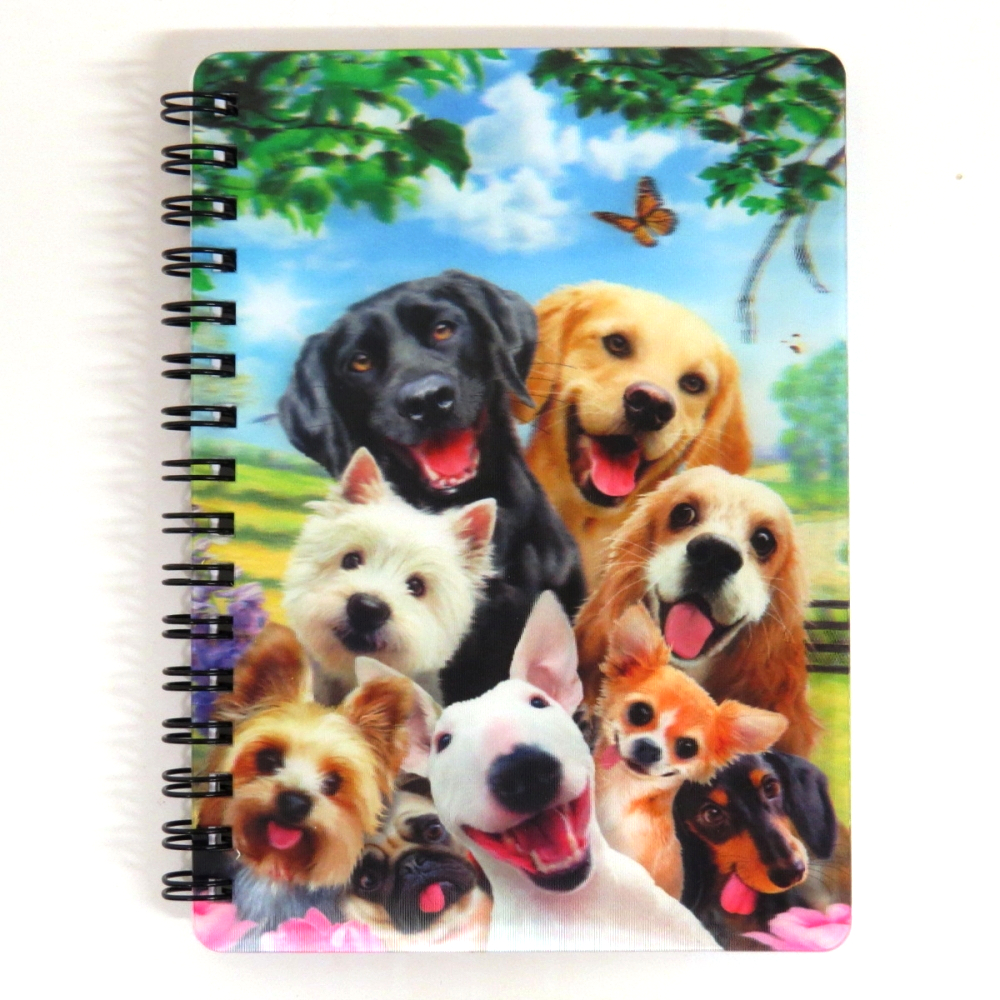 Super 3D Moving Cover A6 Wirebound Notebook, Dog Selfie