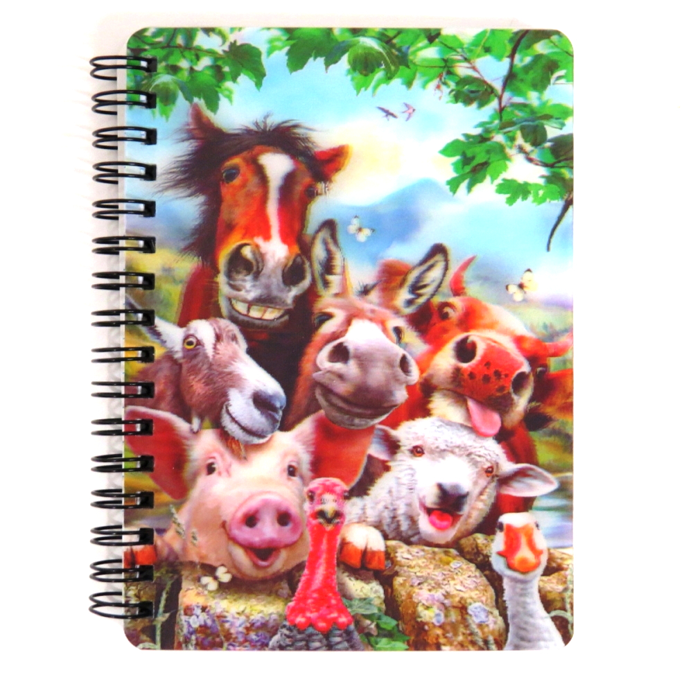Super 3D Moving Cover A6 Wirebound Notebook, Farm Selfie